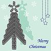 Векторный клипарт: Красивое дерево в домино. Рождественская открытка.