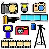 Векторный клипарт: набор камер и аксессуаров.