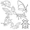 Vektor Cliparts: Set von Insekten