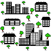 Vector clipart: different kind of houses and buildings