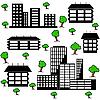 Vektor Cliparts: andere Art von Häusern und Gebäuden