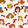 Vector clipart: seamless wallpaper hand-drawn fashion model.