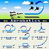 Векторный клипарт: Высший пилотаж самолета на фоне голубого неба