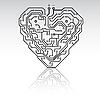 Векторный клипарт: Печатная плата шаблон в форме сердца.
