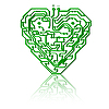 Vector clipart: Circuit board pattern in the shape of the heart.