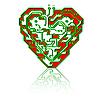 Печатная плата шаблон в форме сердца.