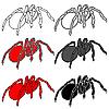 Vector clipart: Set of black widow spiders