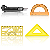 Vector clipart: Stationery knife, ruler and protractor