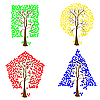 Vector clipart: Trees of different geometric shapes.