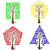 Vektor Cliparts: Bäume unterschiedlichen geometrischen Formen.