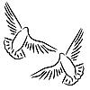 Vektor Cliparts: Set von weißen Tauben