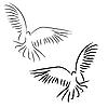 Vector clipart: Set of white doves