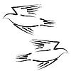 Vektor Cliparts: Konzept der Liebe oder Frieden. Set von weißen Tauben