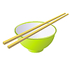 Vector clipart: Ceramic bowl with wooden sticks