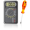 Vector clipart: Multimeter of black color and screwdriver