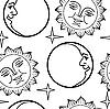 Vektor Cliparts: Seamless wallpaper der Mond und Sonne mit Gesicht