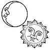 Vektor Cliparts: Mond und Sonne mit Gesichtern