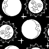 Vector clipart: Seamless wallpaper the Moon and Sun with faces