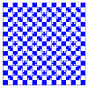 Vector clipart: illusion of volume in blue and white squares