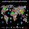 Vector clipart: world map with icons of transport for traveling.