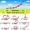 Vector clipart: Aerobatics airplane on blue sky background