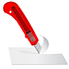 Vector clipart: Plastic knife to cut the paper sheet of white paper