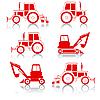 Vector clipart: excavator end bulldozer