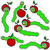 Vector clipart: apple and Worm caterpillars ,