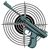 Vector clipart: firearm, gun against target.