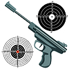 Vector clipart: firearm, gun against target