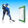 Vector clipart: hockey player and computer processor