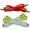 Vector clipart: leek and red pepper,