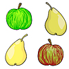 Vector clipart: apple and pear fruit set of