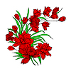 Vector clipart: Flower bouquet, painted by hand.