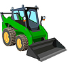 Vector clipart: green truck with scraper to lift cargo