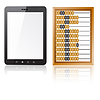 Vector clipart: Tablet PC computer with blank screen with abacus