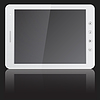 Vector clipart: white tablet PC computer on black