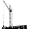 Silhouette of one cranes working on building