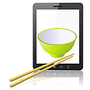 Vector clipart: Tablet PC computer with ceramic mug with wooden sticks