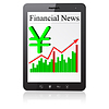 Vector clipart: Financial News yena on Tablet PC.