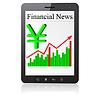 Векторный клипарт: Финансовые новости йена на планшетных ПК.