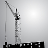 Vector clipart: Silhouette of one cranes working on building