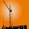 Vector clipart: Silhouette of crane on sunset on building