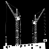 Vector clipart: Silhouette of two cranes working on building