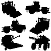 Vector clipart: Agricultural vehicles, set of silhouettes