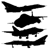 Vector clipart: military combat airplane silhouettes set