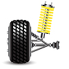 Vector clipart: Front car suspension, frontal view