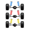 Set rear suspension car with different gearing