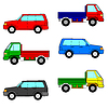 Vector clipart: Set cars, trucks and cars