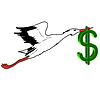 Vector clipart: White Stork with in flight dollar in its beak